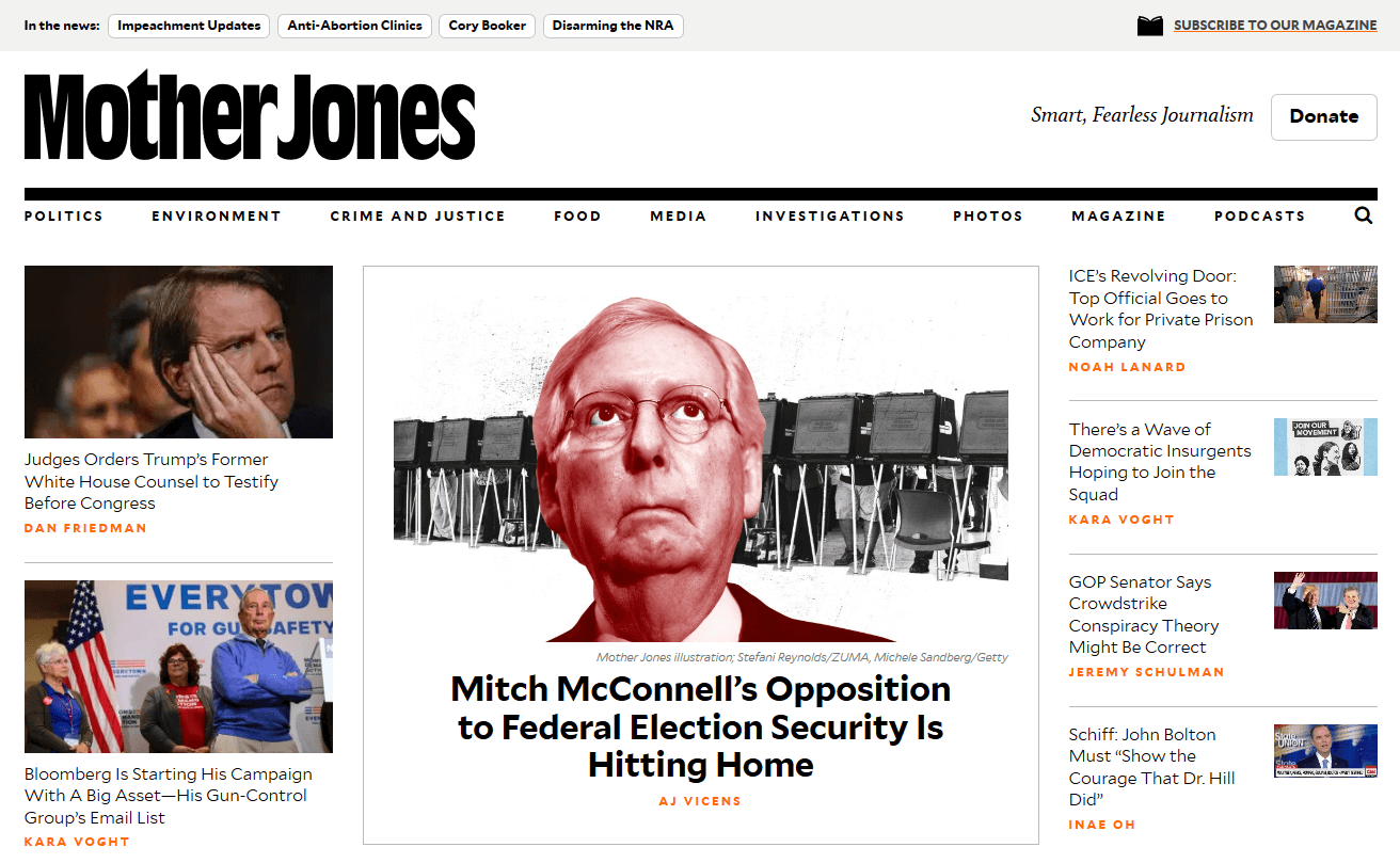 Ejemplo de revista digital Mother Jones